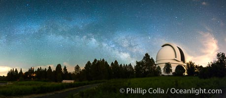 Palomar Observatory at Night under the Milky Way, Panoramic photograph. Palomar Observatory, Palomar Mountain, California, USA, natural history stock photograph, photo id 29345