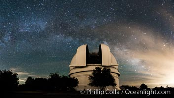 Palomar Observatory at Night under the Milky Way, Panoramic photograph. Palomar Observatory, Palomar Mountain, California, USA, natural history stock photograph, photo id 29349