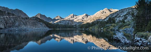 Panorama of Bear Creek Spire over Long Lake at Sunrise, Little Lakes Valley, John Muir Wilderness, Inyo National Forest, Little Lakes Valley, Inyo National Forest