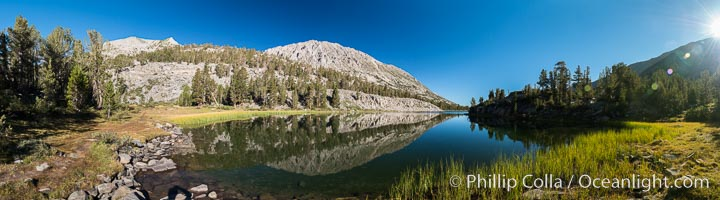 Panorama of Box Lake, morning, Little Lakes Valley, John Muir Wilderness, Inyo National Forest, Little Lakes Valley, Inyo National Forest