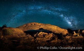 Panorama of the Milky Way over Mesa Arch, Canyonlands National Park, Utah