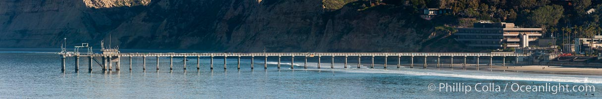 Panorama of SIO Pier, Scripps Institute of Oceanography research pier, Scripps Institution of Oceanography, La Jolla, California