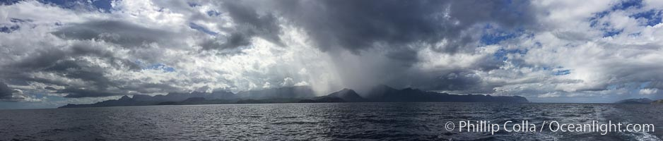 Panorama of Thunderstorm over Baja California, Mexico,  See from near Isla Partida in the Sea of Cortez
