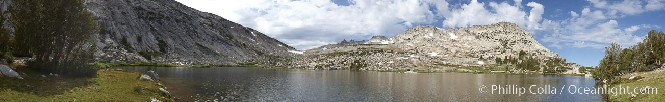 Panorama of Vogelsang Lake (10325'), a beautiful alpine lake in Yosemite's High Sierra.  Right is Vogelsang Peak (11516'), left is Vogelsang Pass, Yosemite National Park, California