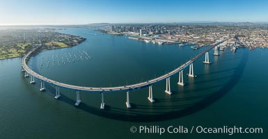 Panoramic Aerial Photo of San Diego Coronado Bay Bridge. San Diego, California, USA, natural history stock photograph, photo id 30789