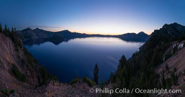 Panoramic picture of Crater Lake at dawn, sunrise, morning, panorama of Crater Lake National Park. Oregon, USA, natural history stock photograph, photo id 28631