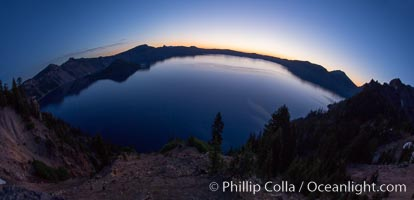 Panoramic picture of Crater Lake at dawn, sunrise, morning, panorama of Crater Lake National Park. Oregon, USA, natural history stock photograph, photo id 28655