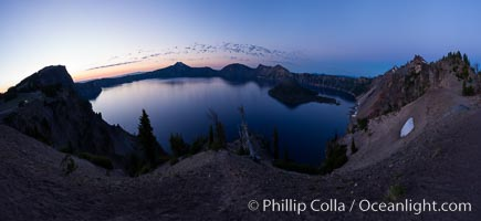 Image 28658, Panoramic picture of Crater Lake at dawn, sunrise, morning, panorama of Crater Lake National Park. Oregon, USA, Phillip Colla, all rights reserved worldwide. Keywords: crater, crater lake, crater lake national park, dawn, lake, landscape, morning, national park, national parks, nature, oregon, outdoors, outside, panorama, panoramic photo, scene, scenery, scenic, sunrise, usa.