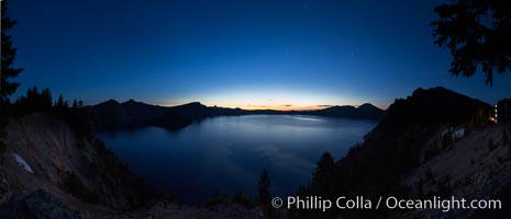 Image 28661, Panoramic picture of Crater Lake at dawn, sunrise, morning, panorama of Crater Lake National Park. Crater Lake National Park, Oregon, USA, Phillip Colla, all rights reserved worldwide. Keywords: crater, crater lake, crater lake national park, dawn, lake, landscape, morning, national park, national parks, nature, oregon, outdoors, outside, panorama, panoramic photo, scene, scenery, scenic, sunrise, usa.