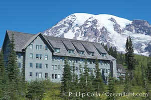Paradise Inn.  The Paradise Inn, one of the grand old lodges of the National Park system, was completed in 1906. Paradise Park, summer, Mount Rainier National Park, Washington