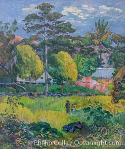 "Paysage by Paul Gauguin, Musee de l""Orangerie. Musee de lOrangerie, Paris, France, natural history stock photograph, photo id 35630"