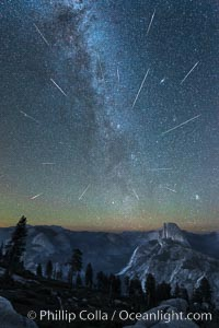 Perseid Meteor Shower and Milky Way, Andromeda Galaxy and the Pleides Cluster, over Half Dome and Yosemite National Park. Glacier Point, Yosemite National Park, California, USA, natural history stock photograph, photo id 28746