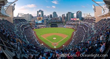 Image 27049, Petco Park, home of the San Diego Padres professional baseball team, overlooking downtown San Diego at dusk. San Diego, California, USA, Phillip Colla, all rights reserved worldwide. Keywords: ballpark, baseball, baseball, outdoors, outside, padres, panorama, panoramic photo, petco park, petco park, san diego, san diego padres, scene, scenery, scenic, sports, stadium, view.