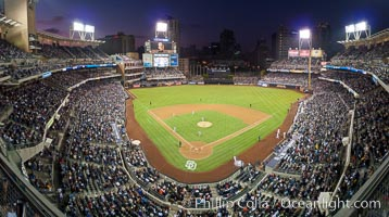 Petco Park, home of the San Diego Padres professional baseball team, overlooking downtown San Diego at dusk