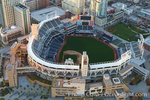PETCO Park, an open-air stadium in downtown San Diego, home of the San Diego Padres baseball club.  Opened in 2004, it has a seating capacity of approximately 42000