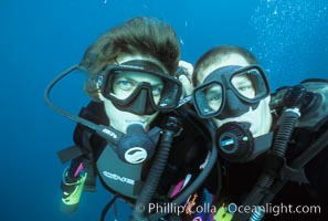Phillip Colla and Tracy Colla, diving at Wolf Island in the Galapagos