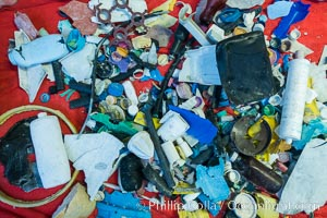 Plastic Debris, Sorted and Cataloged for Study, Clipperton Island. France, natural history stock photograph, photo id 33105