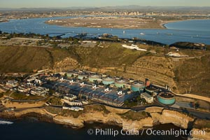 Point Loma Wastewater Treatment Plant.  Opened in 1963, the Point Loma Wastewater Treatment Plant treats approximately 175 million gallons of wastewater per day, generated by 2.2 million residents of San Diego over a 450 square mile area.  San Diego Bay, Coronado Island and downtown San Diego are seen in the distance