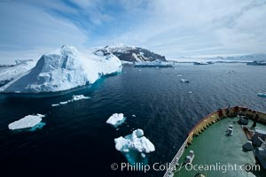 M/V Polar Star passes by icebergs on its way to Brown Bluff in the Antarctic Sound