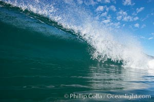 Breaking wave, South Carlsbad State Beach, Ponto, morning, winter