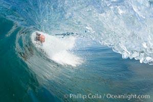 Bodysurfer Bob Davis, barreled, Ponto, South Carlsbad