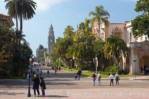 The Prado, or El Prado, the main east-west walkway through the heart of Balboa Park, is named for the Paseo del Prado in Madrid.  Balboa Park. Balboa Park, San Diego, California, USA, natural history stock photograph, photo id 14603
