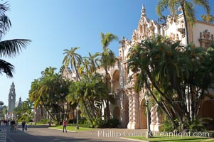 The Prado, or El Prado, the main east-west walkway through the heart of Balboa Park, is named for the Paseo del Prado in Madrid.  Balboa Park. Balboa Park, San Diego, California, USA, natural history stock photograph, photo id 14605