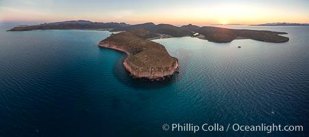 Punta Colorada and San Gabriel Bay, aerial photo, Isla Espiritu Santo, Sea of Cortez, Mexico. Baja California, natural history stock photograph, photo id 32369