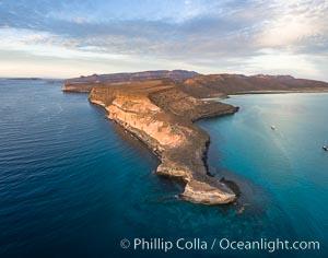 Punta Prieta and San Gabriel Bay, Aerial Photo, Sunset, Isla Espiritu Santo, Baja California, Mexico