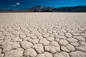 Racetrack Playa, an ancient lake now dried and covered with dessicated mud. Racetrack Playa, Death Valley National Park, California, USA, natural history stock photograph, photo id 25315