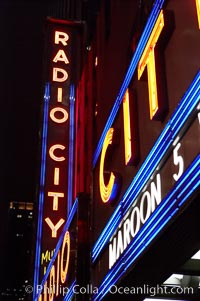 Radio City Music Hall, neon lights, night. Radio City Music Hall, New York City, New York, USA, natural history stock photograph, photo id 11175