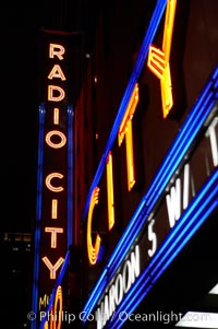 Radio City Music Hall, neon lights, night, New York City