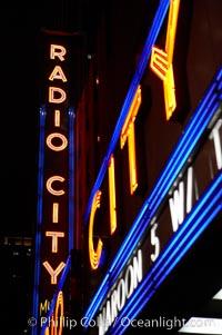 Radio City Music Hall, neon lights, night. Radio City Music Hall, New York City, New York, USA, natural history stock photograph, photo id 11176