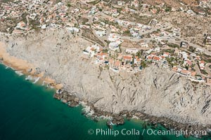 Private homes built on the bluffs overlooking the ocean at Cabo San Lucas