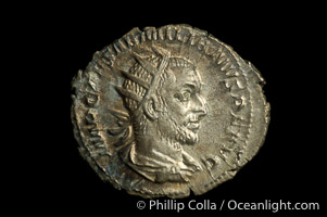 Roman emperor Aemillian (253 A.D.), depicted on ancient Roman coin (silver, denom/type: Antoninianus)