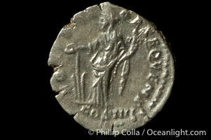 Roman emperor Antonius Pius (138-161 A.D.), depicted on ancient Roman coin (silver, denom/type: Denarius)