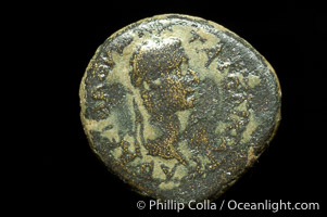 Roman emperor Caligula (37-41 A.D.), depicted on ancient Roman coin (bronze, denom/type: AE16) (AE16, Smyrna, 4.8 g, RPC 2473, Head right, Victory right.)