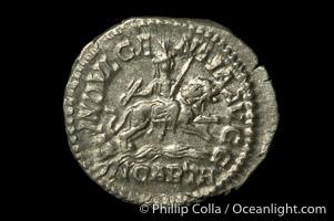 Roman emperor Caracalla (198-217 A.D.), depicted on ancient Roman coin (silver, denom/type: Denarius)