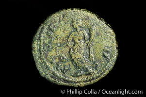 Roman emperor Carausius (287-293 A.D.), depicted on ancient Roman coin (bronze, denom/type: Antoninianus) (Antoninianus Obverse: IMP CARAVSIVS PF AVG. Reverse: MONETA AVG; Moneta standing left.)