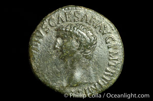 Roman emperor Claudius (41-54 A.D.), depicted on ancient Roman coin (bronze, denom/type: As) (AS, VF. Reverse: SC, Minerva standing right, spear and shield.)