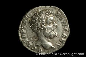 Roman emperor Clodius Albinus (193-197 A.D.), depicted on ancient Roman coin (silver, denom/type: Denarius)