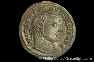 Roman emperor Constantine I (307-337 A.D.), depicted on ancient Roman coin (bronze, denom/type: Follis)