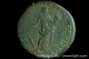 Roman emperor Diadumenian (217-218 A.D.), depicted on ancient Roman coin (bronze, denom/type: AE25) (AE 25 of Nicopolis in Moesia. Obverse: Draped and cuirassed bust right. Reverse: Tyche standing left, holds rudder and cornucopia. VG.)
