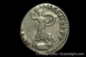 Roman emperor Domitian (81-96 A.D.), depicted on ancient Roman coin (silver, denom/type: Denarius) (Denarius, VF, 3.76 g, 18mm, RIC 172. Obverse: IMP CAES DOMIT AVG GERM P M TR P XII. Reverse: IMP XXI COS XVI CENS PPP)