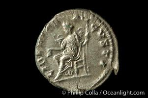 Roman emperor Elegabalus (218-222 A.D.), depicted on ancient Roman coin (silver, denom/type: Denarius) (Denarius, EF, Sea 2003. Obverse: IMP ANTONINVS PIVA AVG. Reverse: Liberty standing left.)
