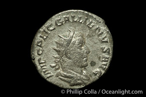 Roman emperor Gallienus (253-268 A.D.), depicted on ancient Roman coin (billion, denom/type: Antoninianus)