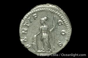 Roman emperor Geta (209-212 A.D.), depicted on ancient Roman coin (silver, denom/type: Denarius)