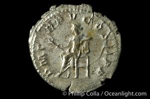 Roman emperor Gordian III (238-244 A.D.), depicted on ancient Roman coin (silver, denom/type: Denarius) (Antoninianus RSC 261, RIC 89. Obverse: IMP GORDIANVS PIVS FEL AVG. Reverse: P M TR P V COS IIP P)