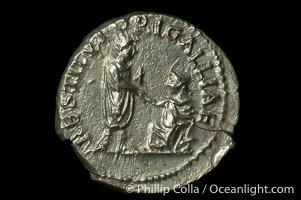 Roman emperor Hadrian (117-138 A.D.), depicted on ancient Roman coin (silver, denom/type: Denarius) (Denarius, BMC 877, RSC 1247c, RIC 324, ST 320. Obverse: HADRIANVS AVG COS III P P. Reverse: RESTITVTORI GALLIAE.)