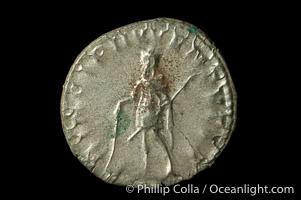 Roman emperor Herennius Etruscus (250-251 A.D.), depicted on ancient Roman coin (silver, denom/type: Antoninianus) (Antoninianus aVF/aF, RSC 26.)